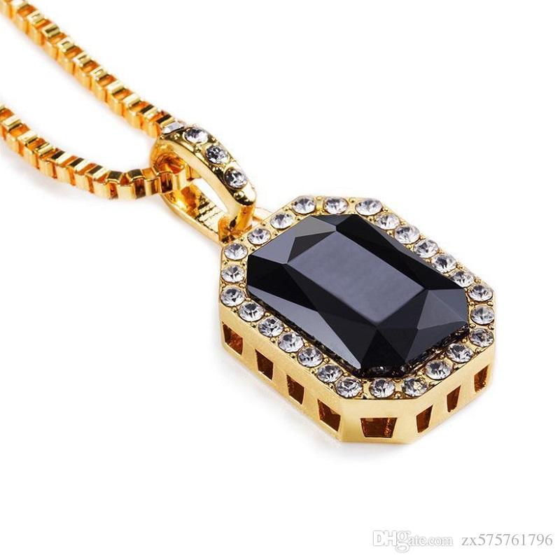 Мужчины хип-хоп драгоценный камень кулон ожерелье Шарм для Моды зеленый красный синий черный белый кристалл дизайн 18k позолоченные 75 см длинная цепь ювелирных изделий