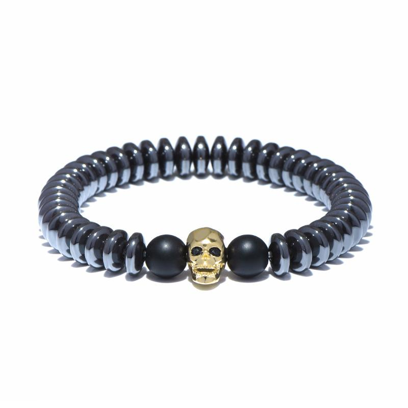 Punk Black Natural Hämatit-Stein-Charme-Korn-Armband Gothic Schädel Armband für Männer kühlen Biker Hand Schmuck Joyas Zubehör Pulsera