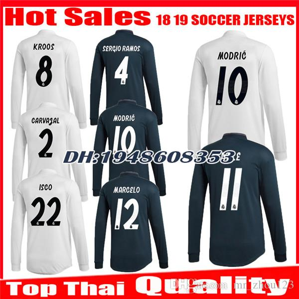 82cf5283fc8 2019 2018 2019 Real Madrid Long Sleeve Home Soccer Jersey 1819 BENZEMA BALE  KROOS RAMOS MODRIC ISCO NAVAS ASENSIO MARCELO Away Football Shirts From ...