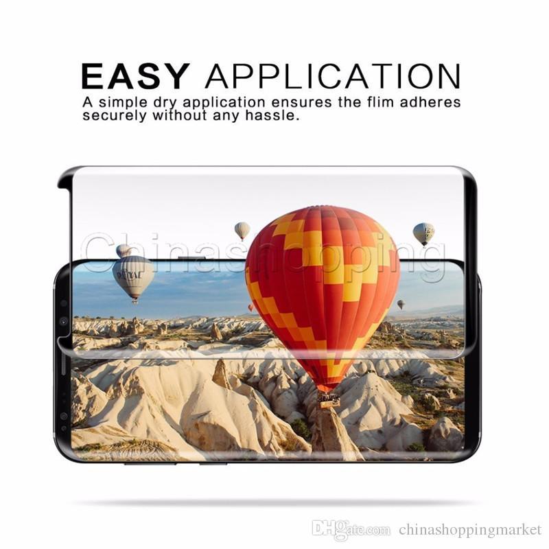 Case Friendly 3D Curved Screen Protector Flim Cubierta de vidrio templado de superficie completa para Samsung S9 S8 Plus S7 Edge con paquete al por menor