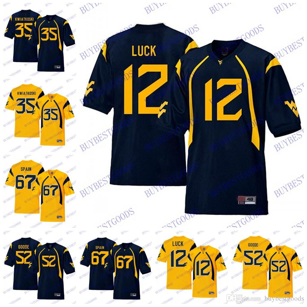 more photos 8321a 2f679 NCAA WVU West Virginia Mountaineers 67 Quinton Spain 12 Oliver Luck 35 Nick  Kwiatkoski 52 Najee Goode College Football Jerseys
