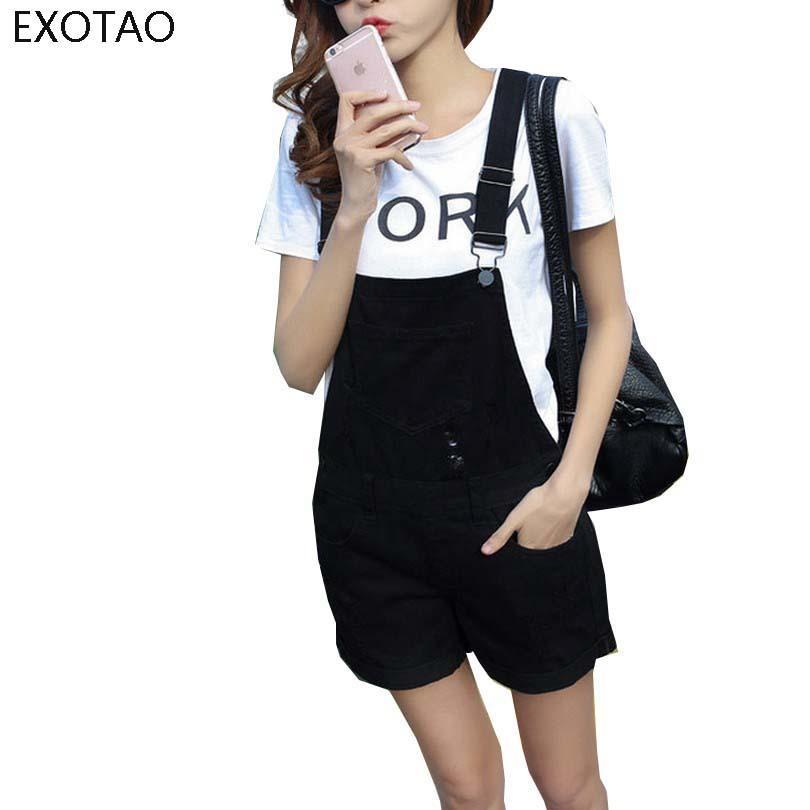 97aa821e7529 2019 EXOTAO College Wind Summer Denim Bodysuit Shorts Slim Straps Loose  Plus Size Jumpsuit Casual Vintage White Black Pink Overalls Y1891806 From  Zhengrui05 ...