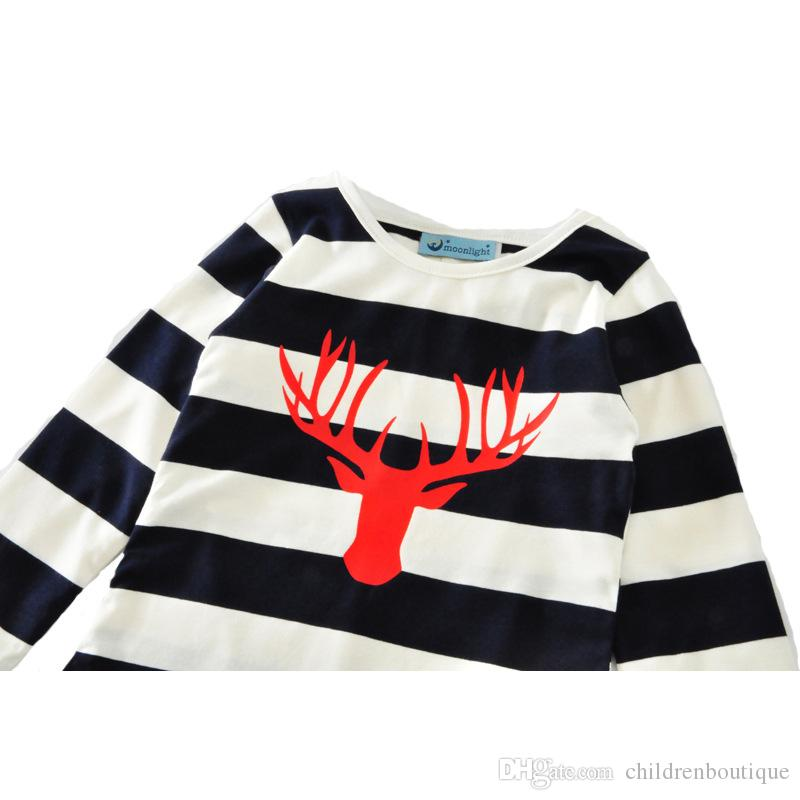 Family Matching Dress Outfits Mother And Daughter Matching Clothes Long Sleeve Christmas Deer Head Dress Mom Baby Christmas Dresses