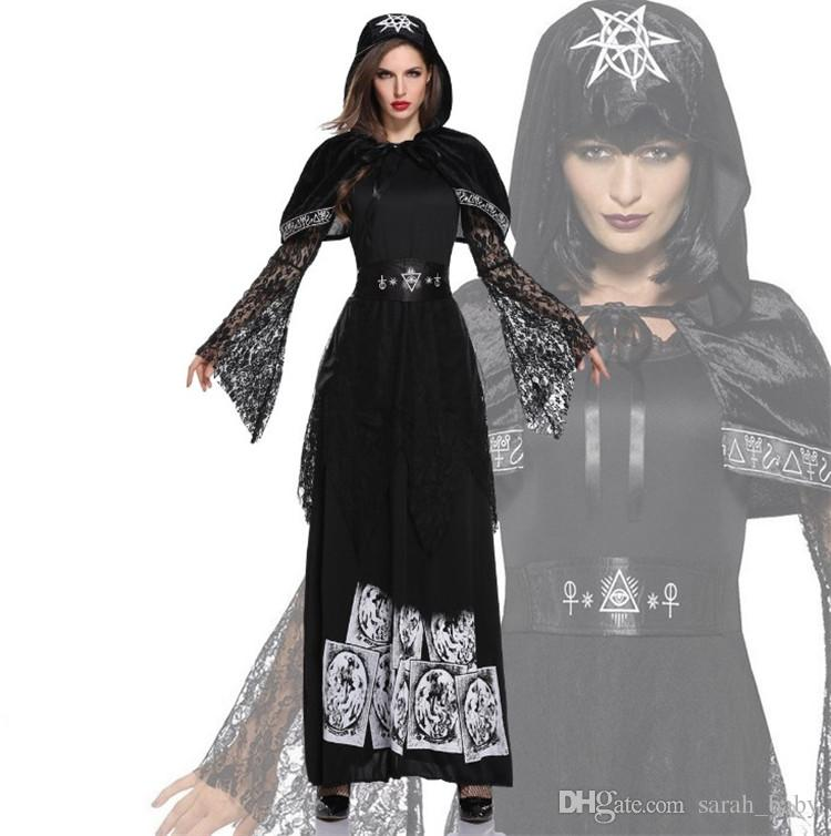 a2aa661af87 2019 2018 New Halloween Adult Female Vampire Service Earl Costume Dark  Ghost Bride Witch Devil Maxi Dress Black Clothing Online From Sarah baby