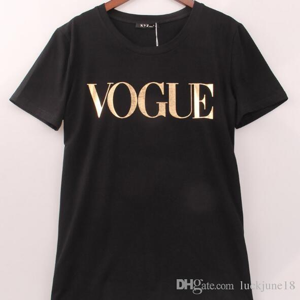 028411cda462e 4 couleurs S-4XL Marque de mode T Shirt Femmes VOGUE Imprimé T-shirt Femmes  Tops Tee Shirt Femme Nouveautés Hot Sale Casual Sakura ghjghn