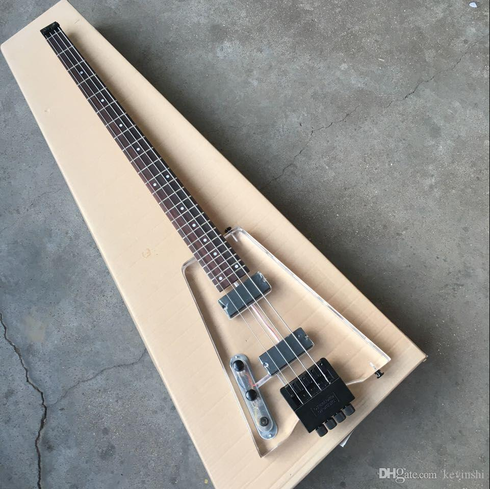 2018 new + factory + left handed 4 strings acrylic body headless bass lefty 4 strings headless bass guitar backhanded bass