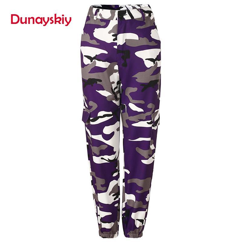 Compre Dunayskiy es Nuevas Mujeres Pantalones De Carga Larga Pantalones  Vaqueros Sueltos De Cintura Alta Ejército Militar Combate Camuflaje Jeans  Pantalones ... abb3e6556b6