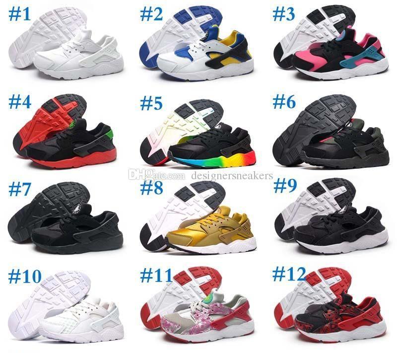 ab7693cda95 2018 Black Red Air Huaraches Kids Running Shoes For Boys Girls White ...
