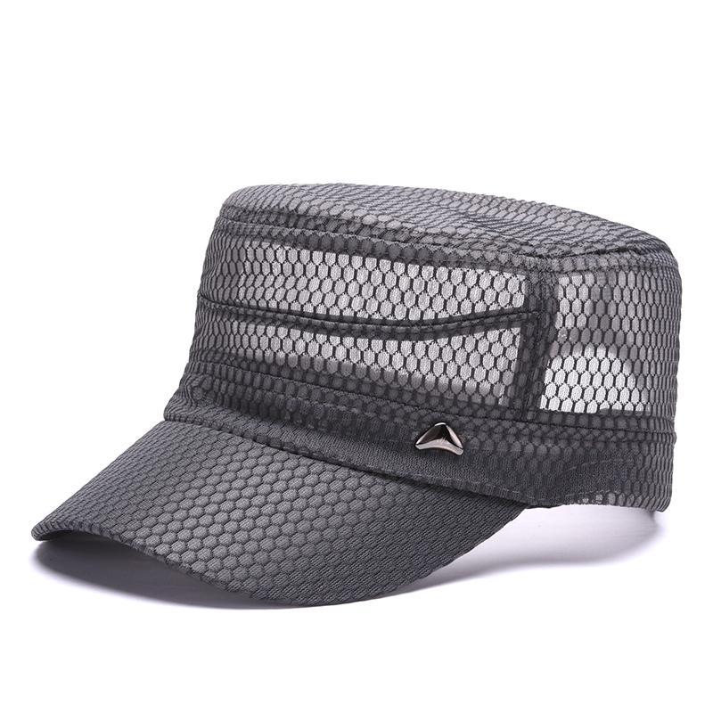 18de1f5e37f Mens Baseball Caps Summer Flat Hats Male Breathable Light Sun Visor Mesh  Hats Quick Drying Gorras Adjustable Black Khaki Gray Army Hats Custom Caps  From ...