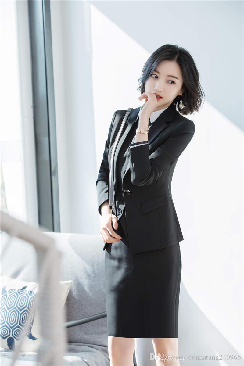 Compre Traje Formal Para Mujer Chaqueta Blasse Señora Trabajo De Oficina  Traje Negro Chaqueta + Pantalones + Chaleco 3 Piezas Set A  42.45 Del ... 3857afa152aa