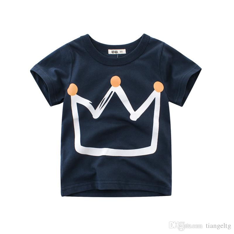 2019 New Boy Summer T Shirt Crown Printing Design Cotton Kids Tee Shirt  Boys Clothes Summer Outfits 1 10T From Tiangeltg 5f79c90eb1b00