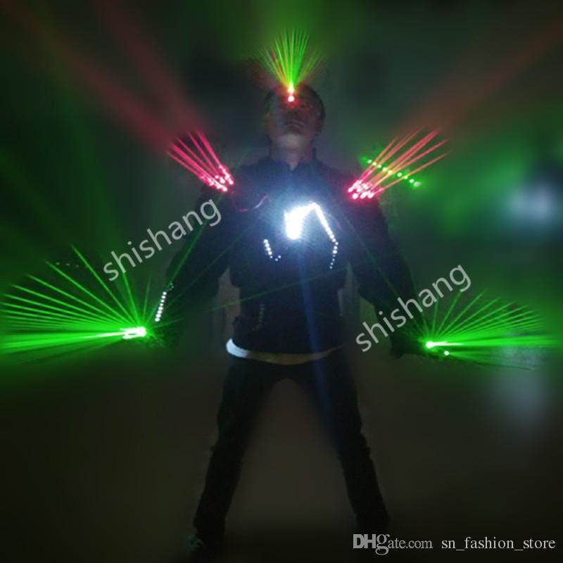 HH813 Green+red color Laser LED costumes set /glasses /gloves bar party costumes performance clothing/ballroom laser man show projector suit