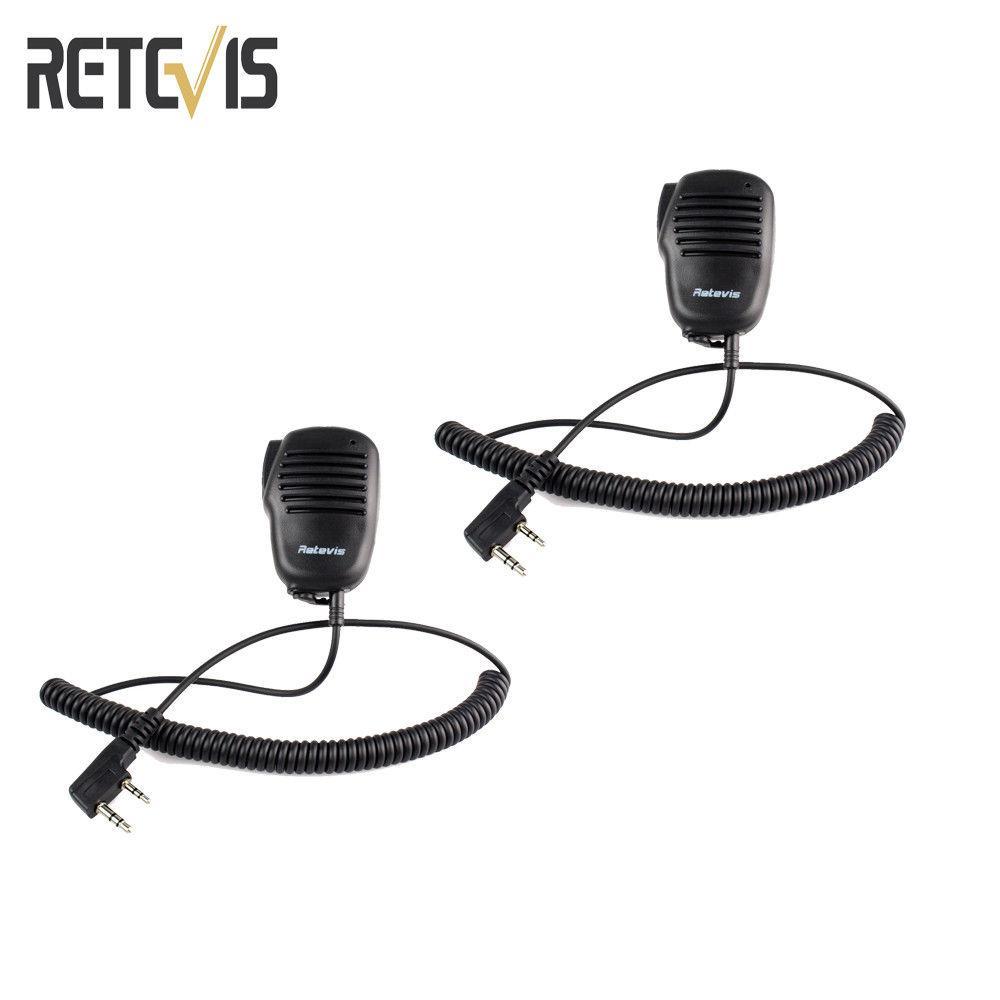 2pcs 2 pin PTT Speaker Mic For Radio KENWOOD/RETEVIS/BAOFENG/TYT PUXING  WOUXUN