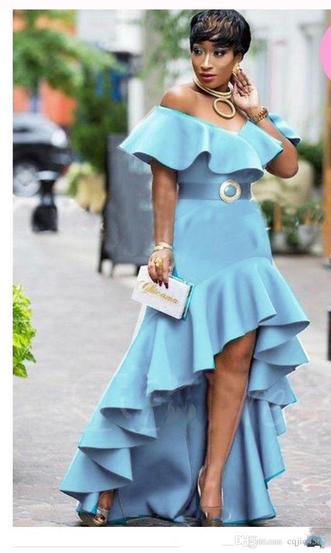 2019 New Ruffles High Low Evening Gowns Saudi Arabic Zipper Back Women Party Dress Vestidos Sky Blue Off The Shoulder Prom Dresses