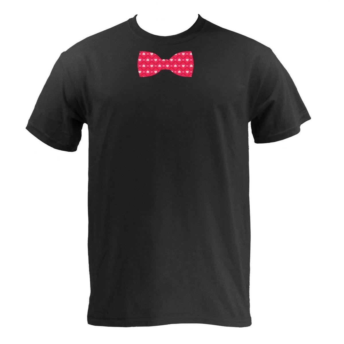 Valentine's Day Bow Tie - Black Basic Cotton Valentines Love Tie T-Shirt
