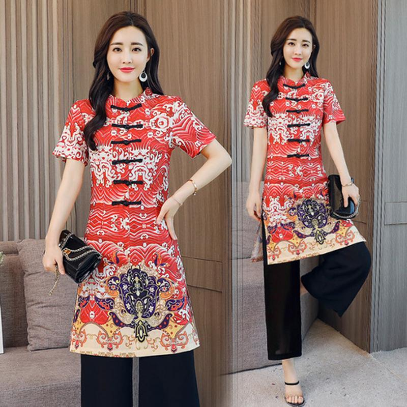 84df9a01e3e 2019 Sets Womens Outfits Chiffon Pant And Top Summer Chinese Vintage Plus  Size Pants Suits Crop Top Set Print Floral Clothing From Houmian