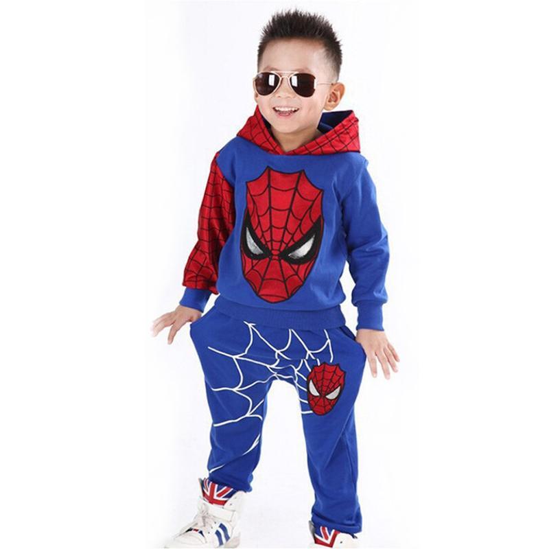 eb1267f1bcd76 Acheter Garçons Spiderman Vêtements Ensembles Sport Costume Pour Garçons  Printemps Coton Spider Man Cosplay Costumes Enfants Costumes Enfants  Vêtements Pour ...