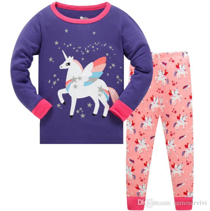 6f32aa5566 Children unicorn pajamas outfits kids round collar collar long sleeve  tops+elastic pants 2pcs sets boys girls cartoon cotton sleepwear F2247