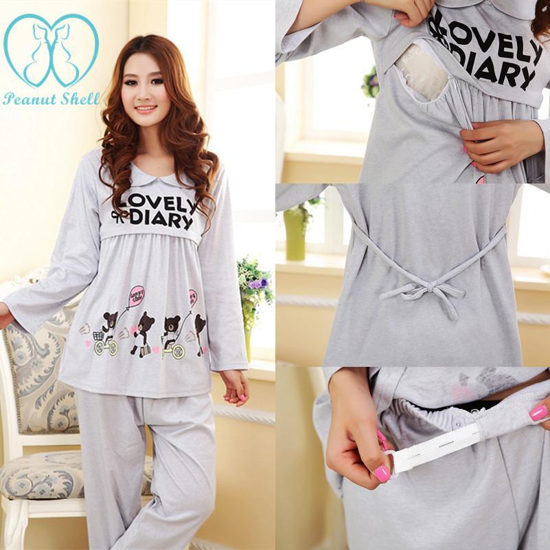 a9eb0c6165 Compre 538   Precioso Impreso Maternidad Lactancia Pijamas Ropa De Cama De  Enfermería Ropa Para Mujeres Embarazadas Otoño Embarazo Ropa De Dormir Set A  ...