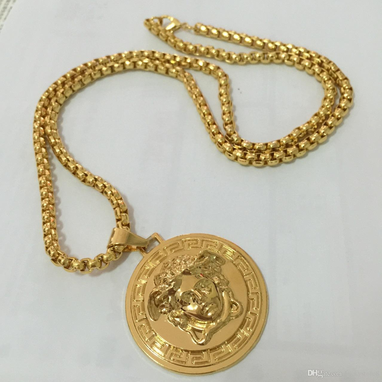 Top Quality Medusa Pendant Necklaces For Men 2017 Hot Hiphop Jewelry Gold Plated Luxury Accessories