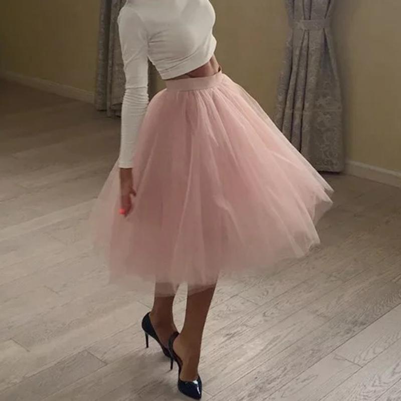 d3c469baa6fa4f Qualité 5 Couches Mode Tulle Jupe Plissée TUTU Jupes Femmes Lolita Jupon  Demoiselles D honneur Jupe Midi Jupe Saias faldas