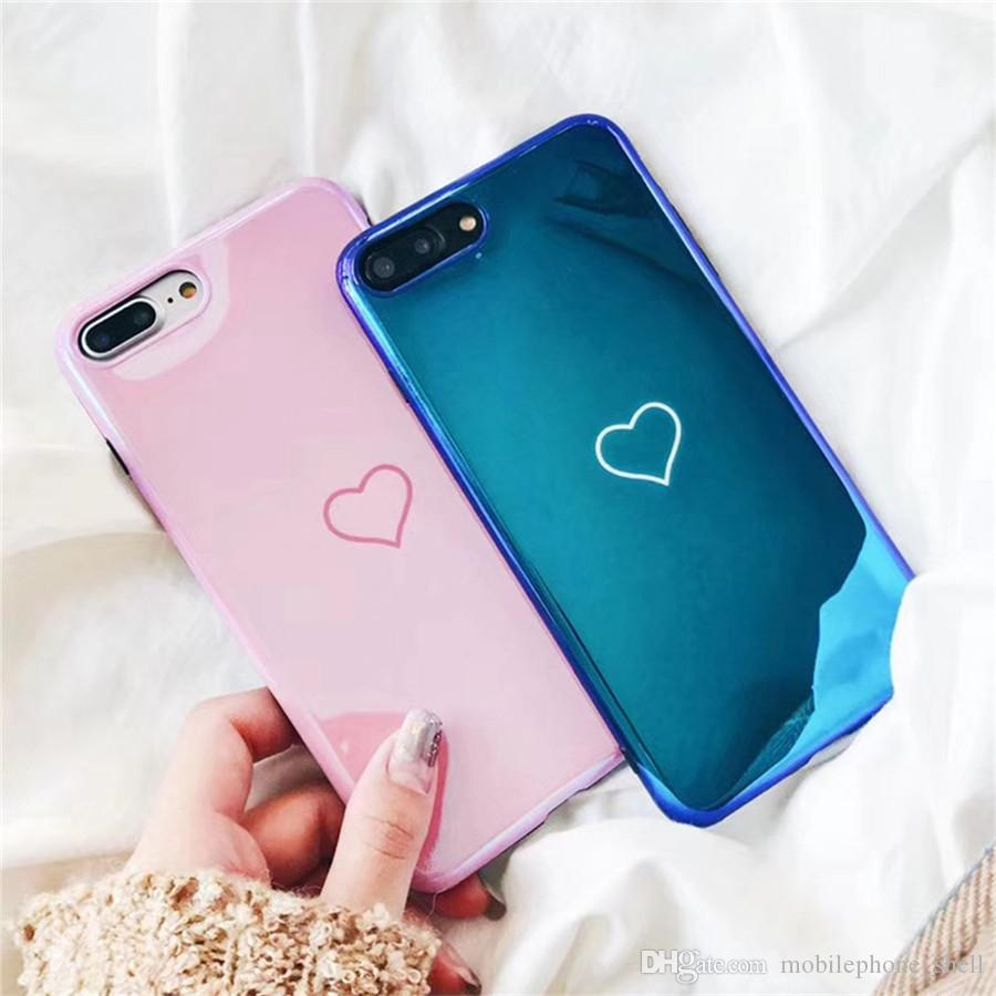 LOVE heart-shaped Blu-Ray Phone Case For iPhoneXr Xs max 87Plus Hot Korean Heart Mirror Soft TPU Phone Back Cover Cases Best Gifts