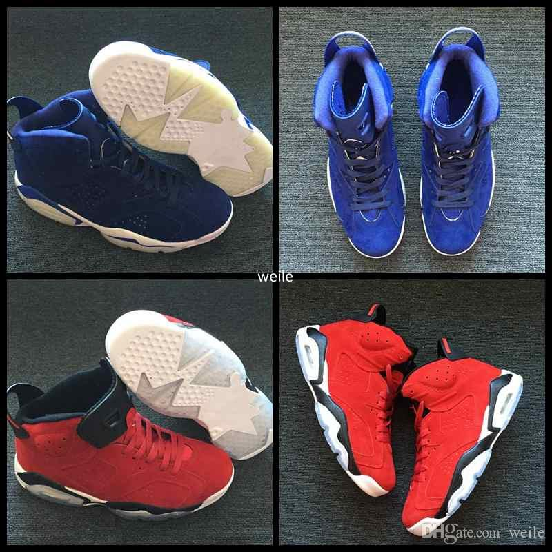 9b03740ba5d4 2019 2018 New 6 VI Red Blue Suede Basketball Shoes For Men
