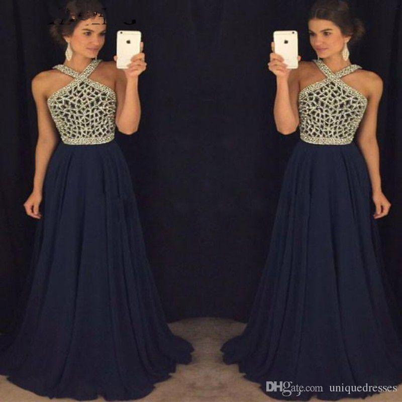 4f2278ecd Sparkly Beaded Navy Blue Prom Dresses Long 2019 Elegant Chiffon Women Formal  Party Gowns A Line Plus Size Evening Dress Cheap Prom Dresses Canada Cute  Cheap ...