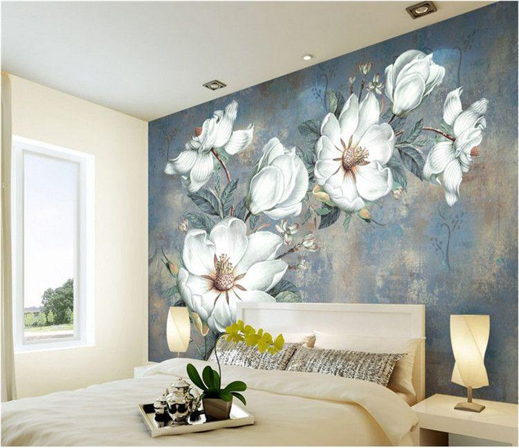 European Oil Painting Living Room Wallpaper Retro Tv Background Wall ...