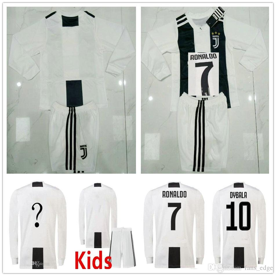 new arrivals 720b2 a4541 Kids Juventus Long Sleeve Soccer Jerseys 2018 2019 Home White RONALDO  DYBALA MANDZUKIC PJANIC MATUIDI Custom Youth Juv Football Shirt Kit