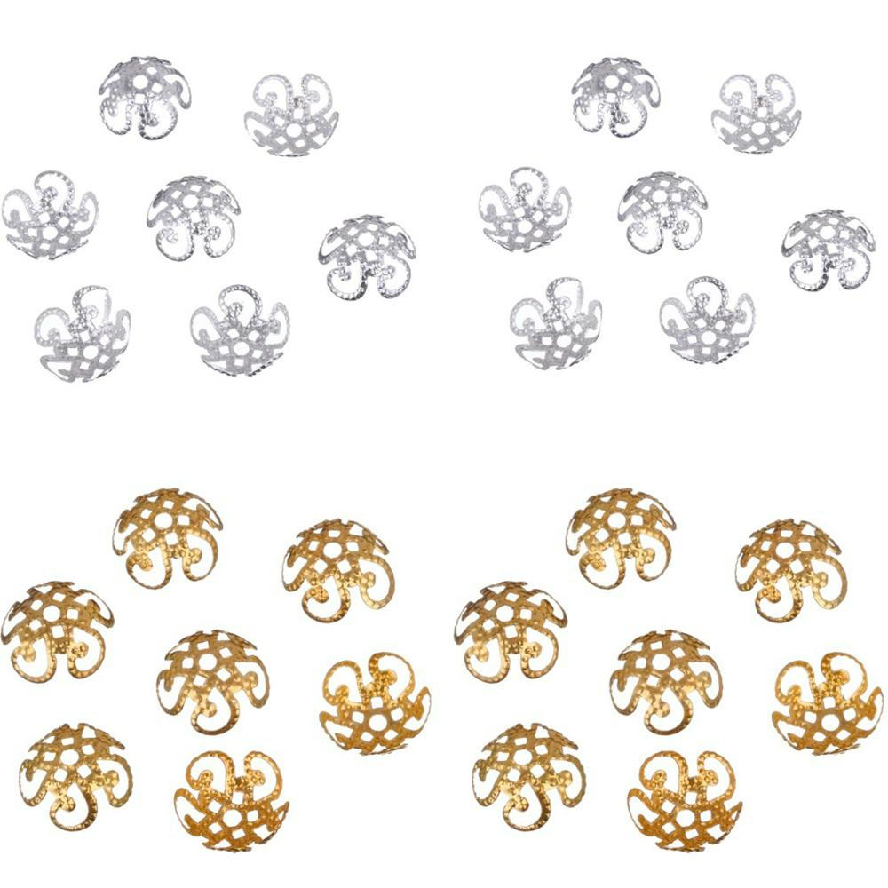 100 pcs/200 pcs/lot 2015 High Quality pesca DIY Hollow Flower Metal Charms Bead Caps for Jewelry Making 10m