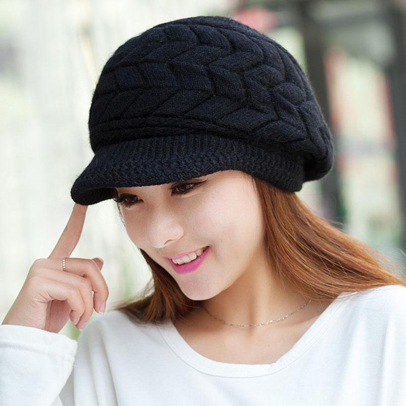 Großhandel Frauen Damen Beret Winter Warm Baggy Beanie Häkeln Hut