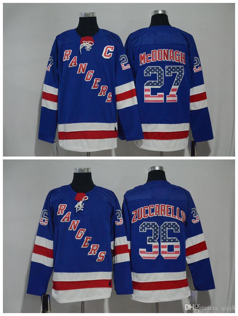 2019 2018 USA Flag Jerseys NY New York Rangers 27 Ryan McDonagh 36 Mats  Zuccarello Blue Stitched Hockey Jerseys From Qqq8 2d58de6e8