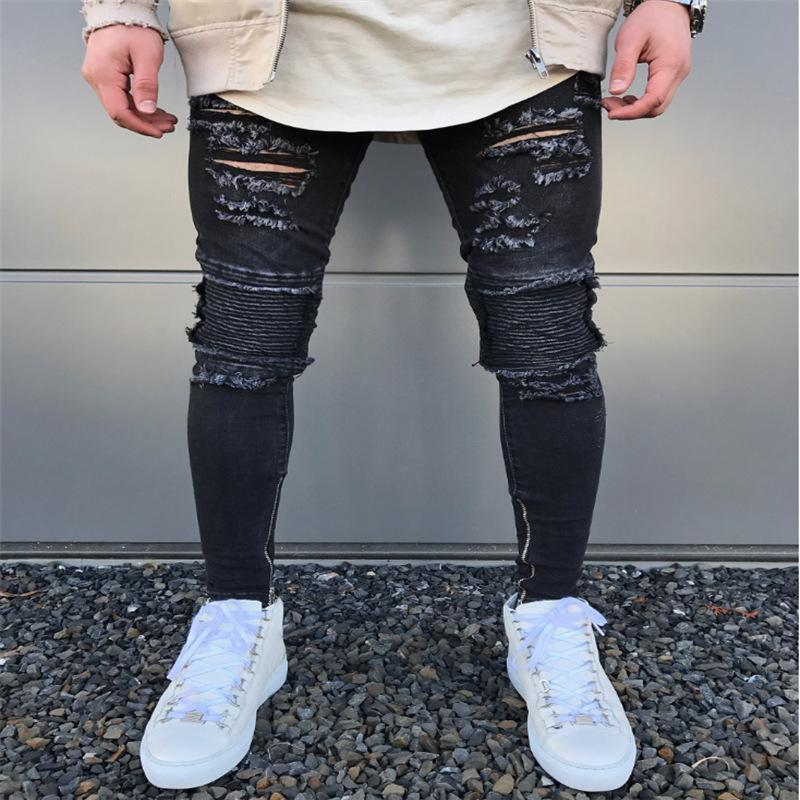 6e6a48c098b 2019 2018 New Slim Fit Ripped Jeans Men Hi Street Mens Distressed Denim  Joggers Knee Holes Washed Destroyed Jeans Plus Size Jeans For Men  6 From  Hasueno