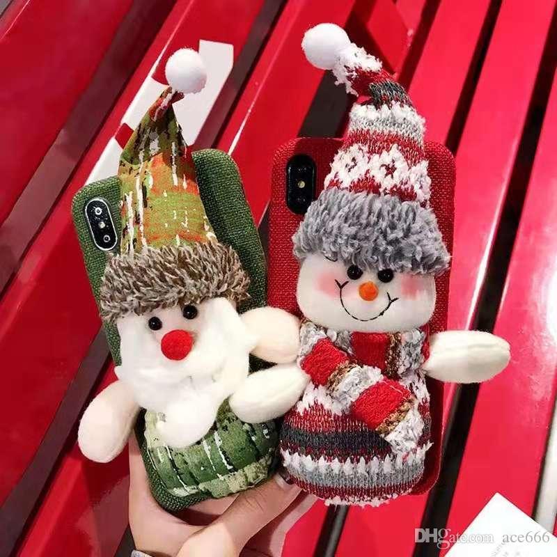 Christmas Gift Plush Father Christmas Snowman Doll Linen Flannelette ...