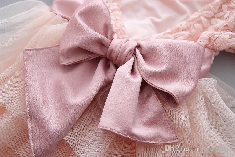 Princess Tulle Dress Fashion Backless Butterfly Baby Girl Clothes Long Sleeve Lace Tutu Girls Formal Dresses 18030801