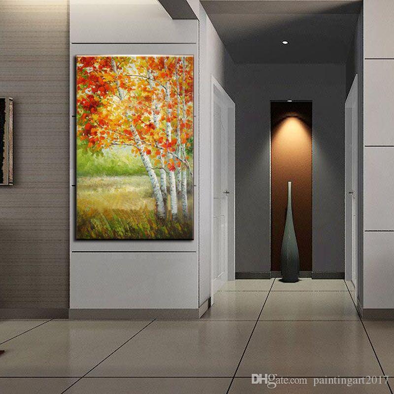 100% peint à la main livraison gratuite grand peinture à l'huile abstraite sur la toile rouge et érable brun arbres photos Art décoration de la maison