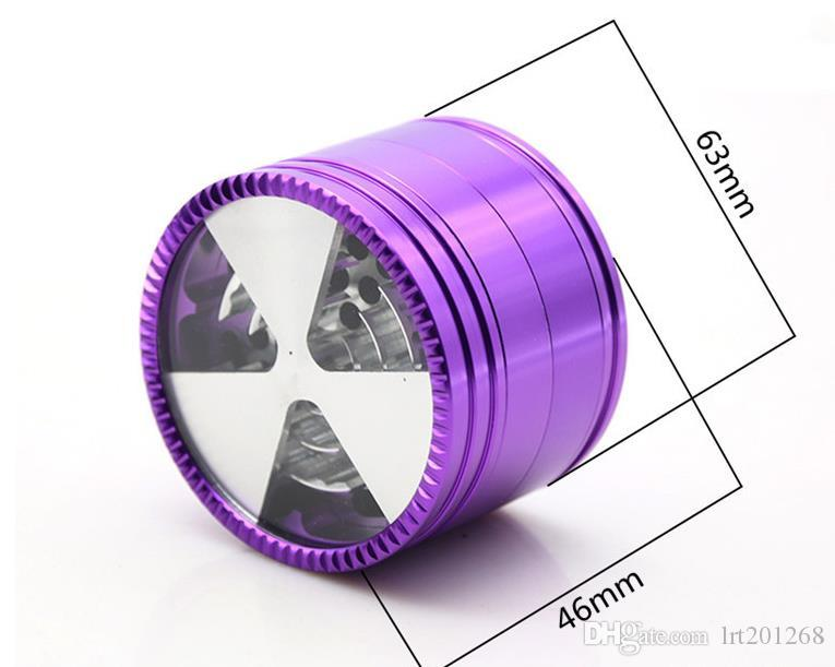 2018 novo 4 camada liga de alumínio isqueiro 63 MM personalidade triângulo tampa de metal moedor
