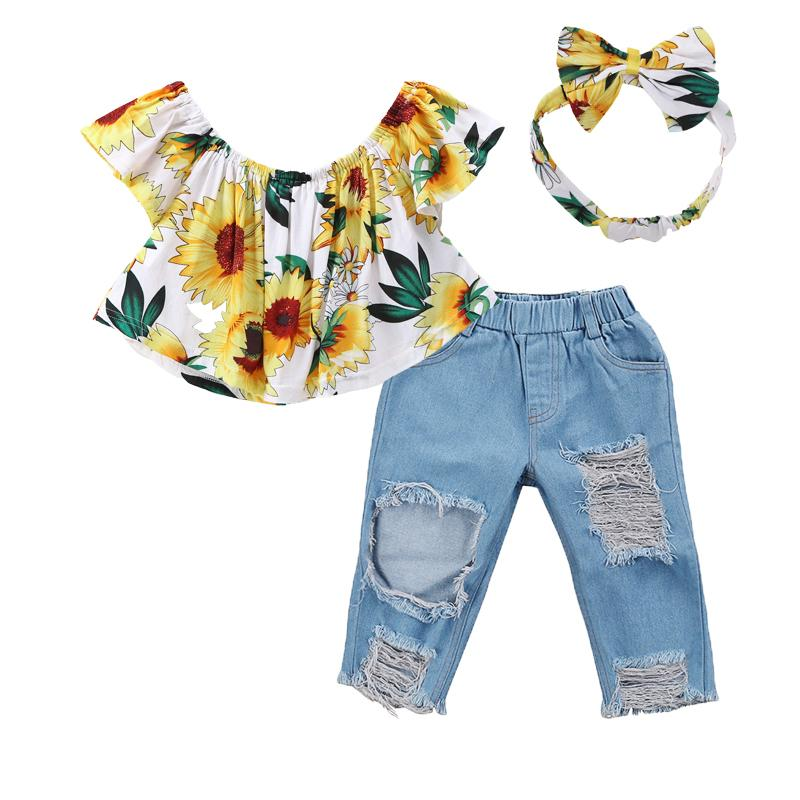 63a87090f 2019 Summer Kids Baby Girl Clothes Set Tops T Shirt + Denim Jeans+ Headband Outfits  Fashion Cotton Cowboy Suit Children Set 0 5Y Y1892808 From Shenping02, ...