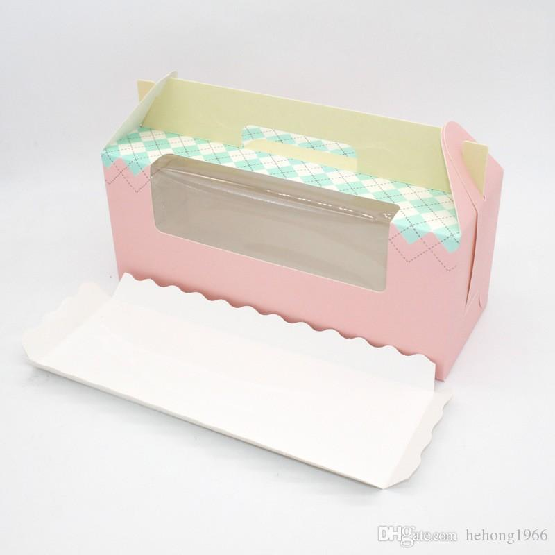Packing Gift Box 3 Lattice Portable Wrap Pink Blue Paper Cup Cake Roll Baking Multicolor Festive Party Supplies 0 58yd V