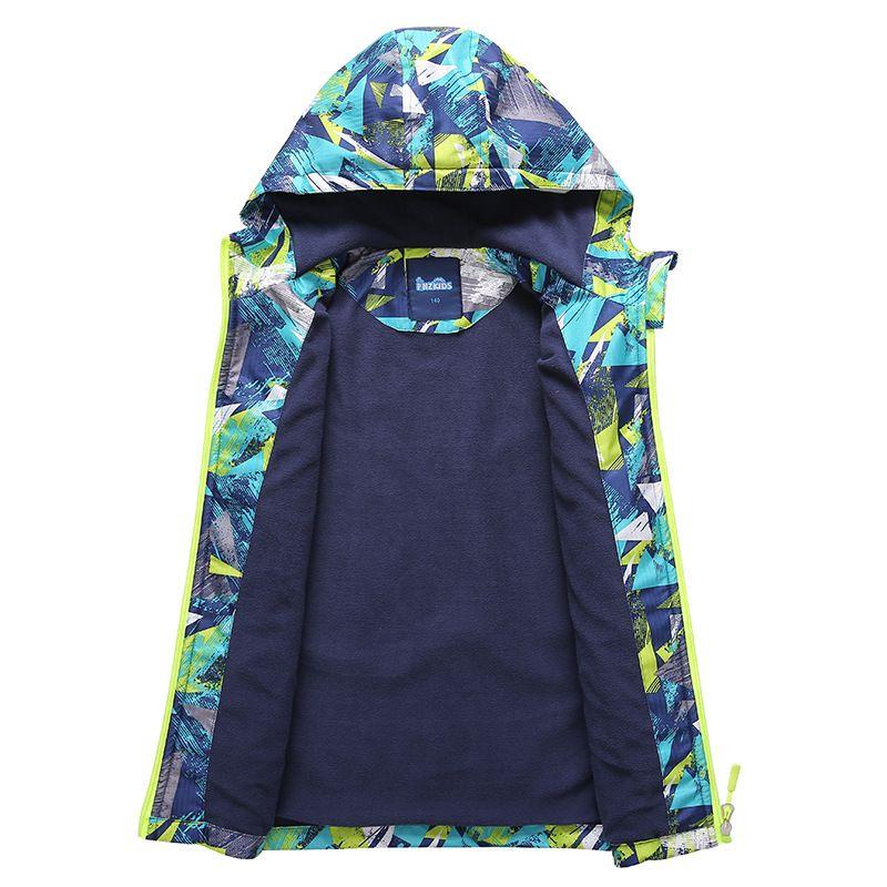 Children's Windbreakers for Boys 3-12Years Outdoor Casual Fleece Jacket Warm Hooded Coat Kids School Clothes Brand Sport Outwear