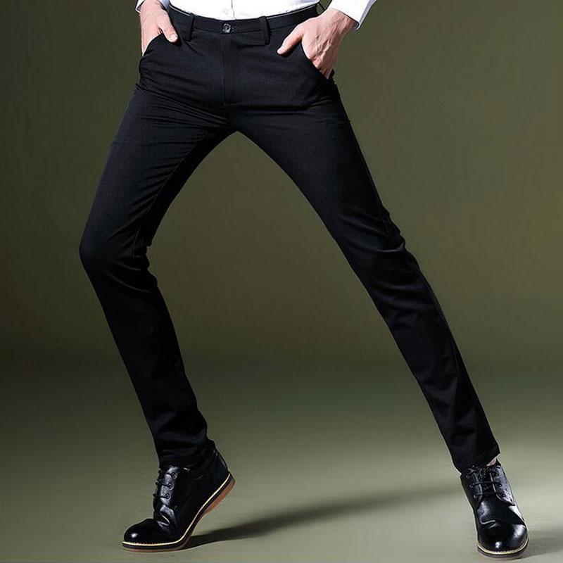 Compre Trajes De Vestir Formales De Los Hombres De Moda Pantalones Negro  Otoño Invierno Hombre Slim Fit Pantalones De Lápiz Flaco Hombre Color Sólido  ... 4253bd8203d3