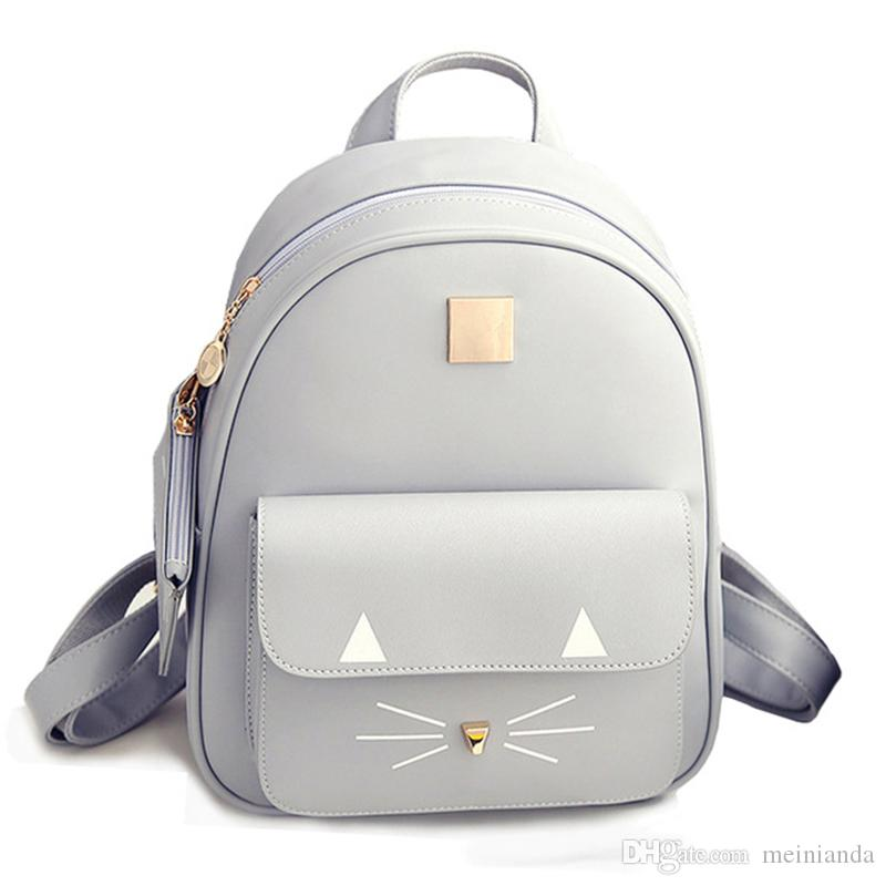 Luggage & Bags Good 2018 Girls Cute Cartoon Cat Printed Backpack Pu Leather Mini Backpacks Student Schoolbag Women Pu Leather Bag For Teenager Kids & Baby's Bags