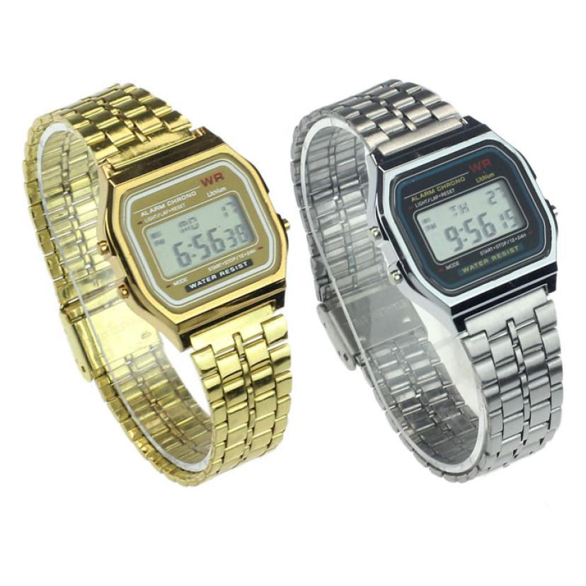 Lowest Price Womens Men Vintage Stainless Steel Digital Alarm Stopwatch Wrist Watch free shipping