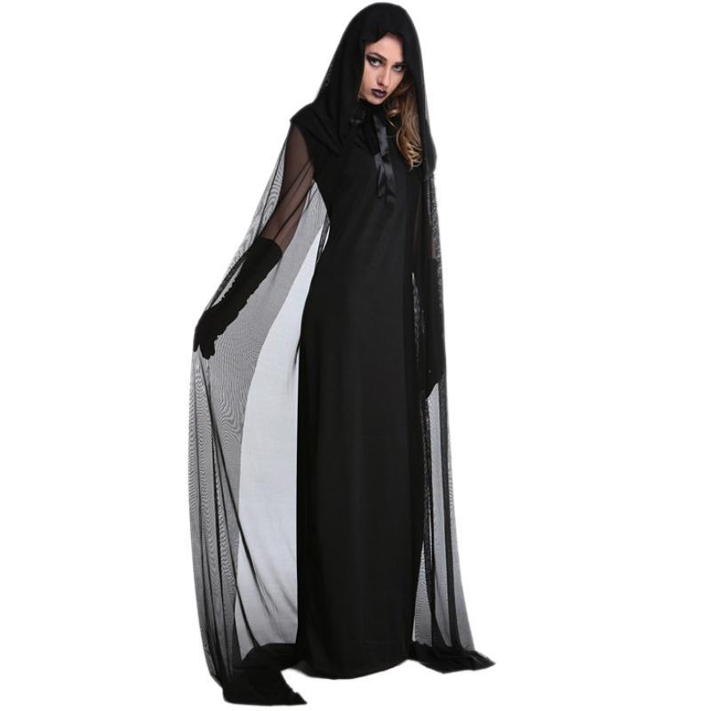 Female Halloween Witch Plus Size Long Dress Costume Autumn Winter