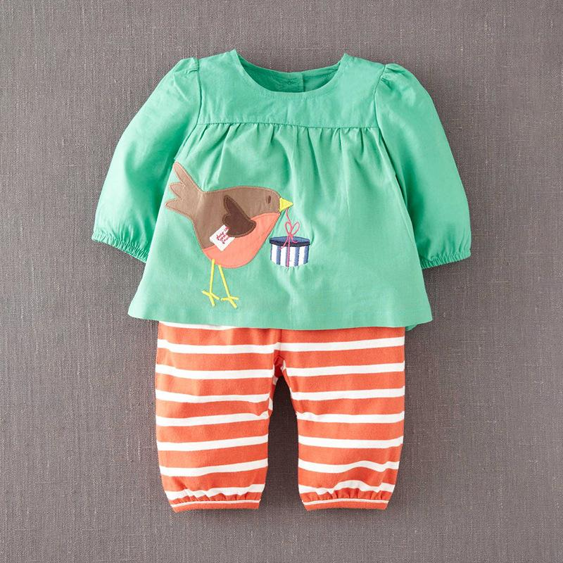 917caf186 2019 Little Maven New Spring Autumn Kids Green Applique Big Bird Woven  Pants Striped Cotton Knitted Girls Long Sleeved Blouse Sets From Ferdimand,  ...