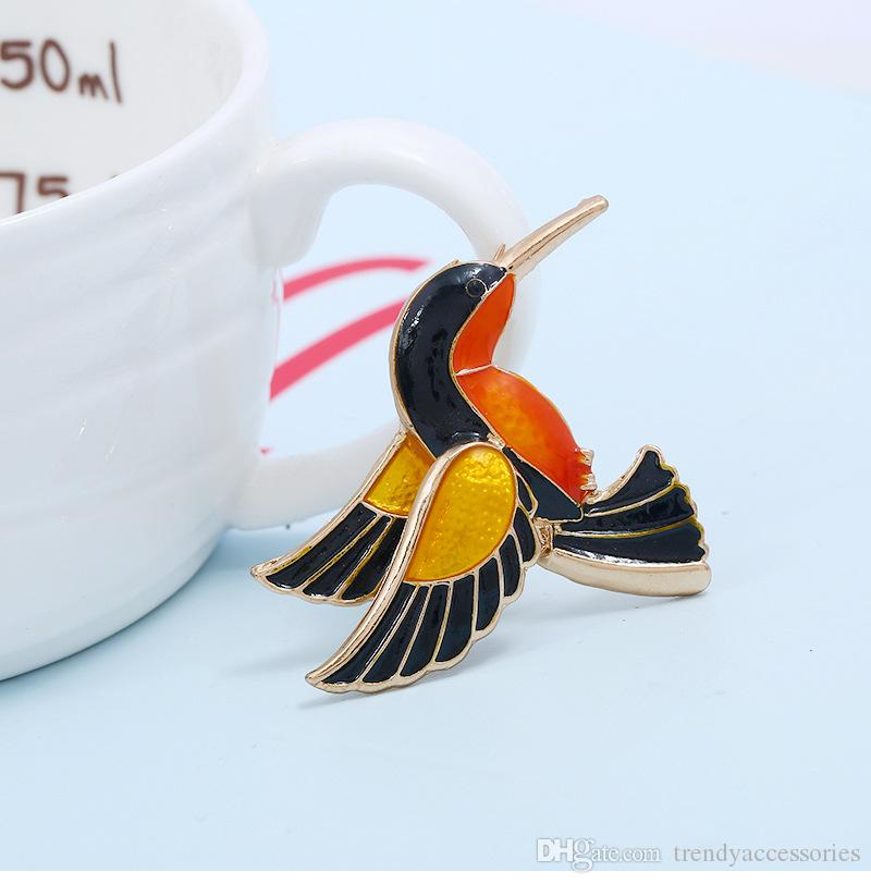 Enamel Hummingbird Bird Brooch Pin