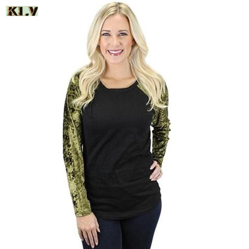 8eac8101b3a9 2019 Fashion Womens Tops Long Sleeve O-Neck Casual Velvet Splice Shirt coat  female T-shirt for women's shirt women's tops