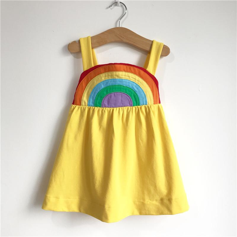 be7644ee355 2019 Baby Girls Suspenders Dress Cartoon Rainbow Children Summer Brand  Clothing Kids Casual Dresses Yellow Cotton Costumes Y1891308 From  Shenping01