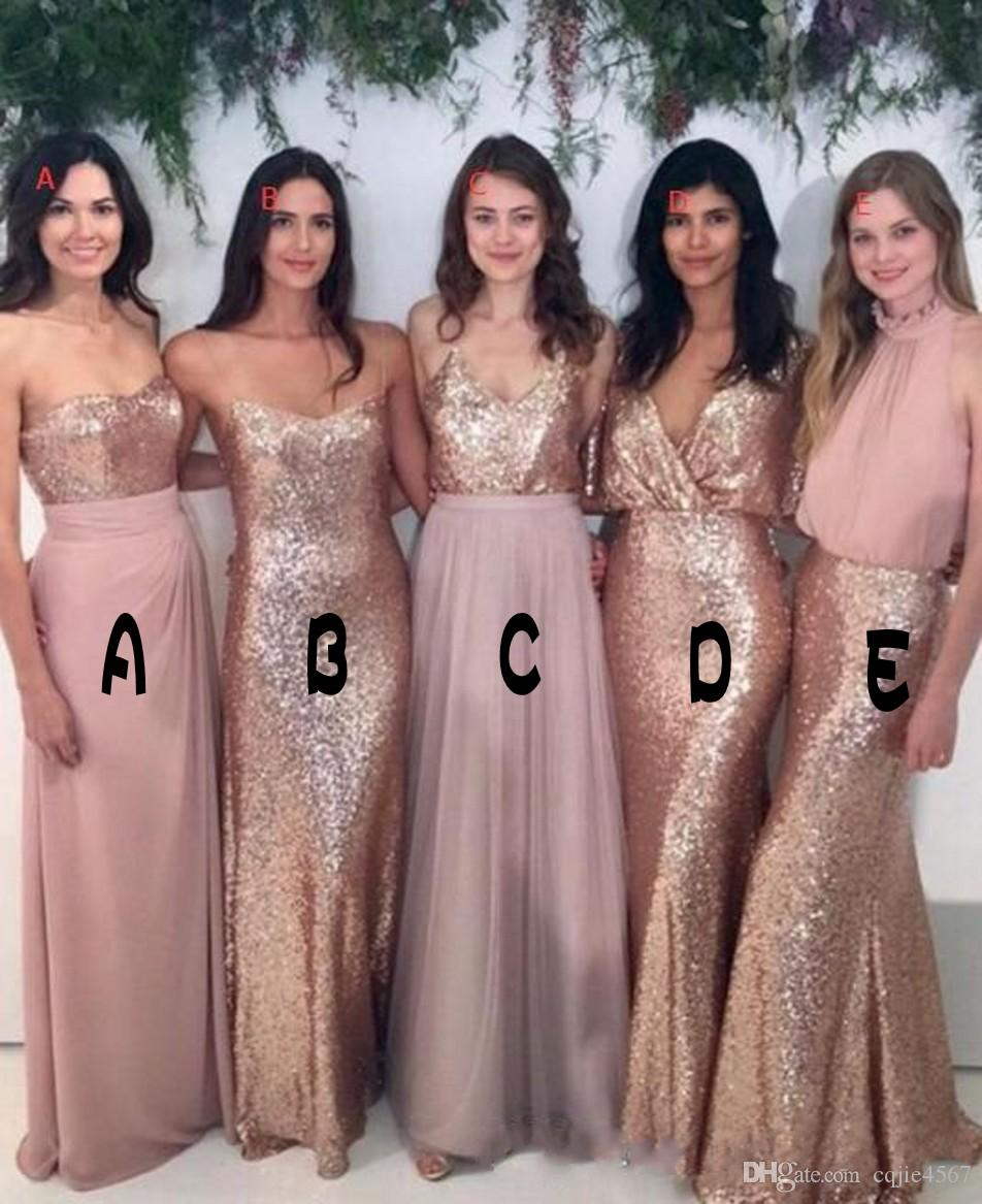 38ccc61decb 2018 Bridesmaid Dresses Mix And Match Blush Pink Chiffon With Rose Gold  Sequined Fabric Floor Length Mixture Styles Country Party Gowns 601 Jr  Bridesmaids ...